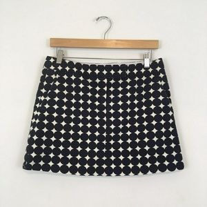 J Crew Navy Blue and White Pattern Mini Skirt Wome